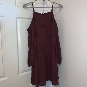 Burgundy Dress with flowers